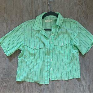 Rag & Bone Green Cropped Button-Down Blouse